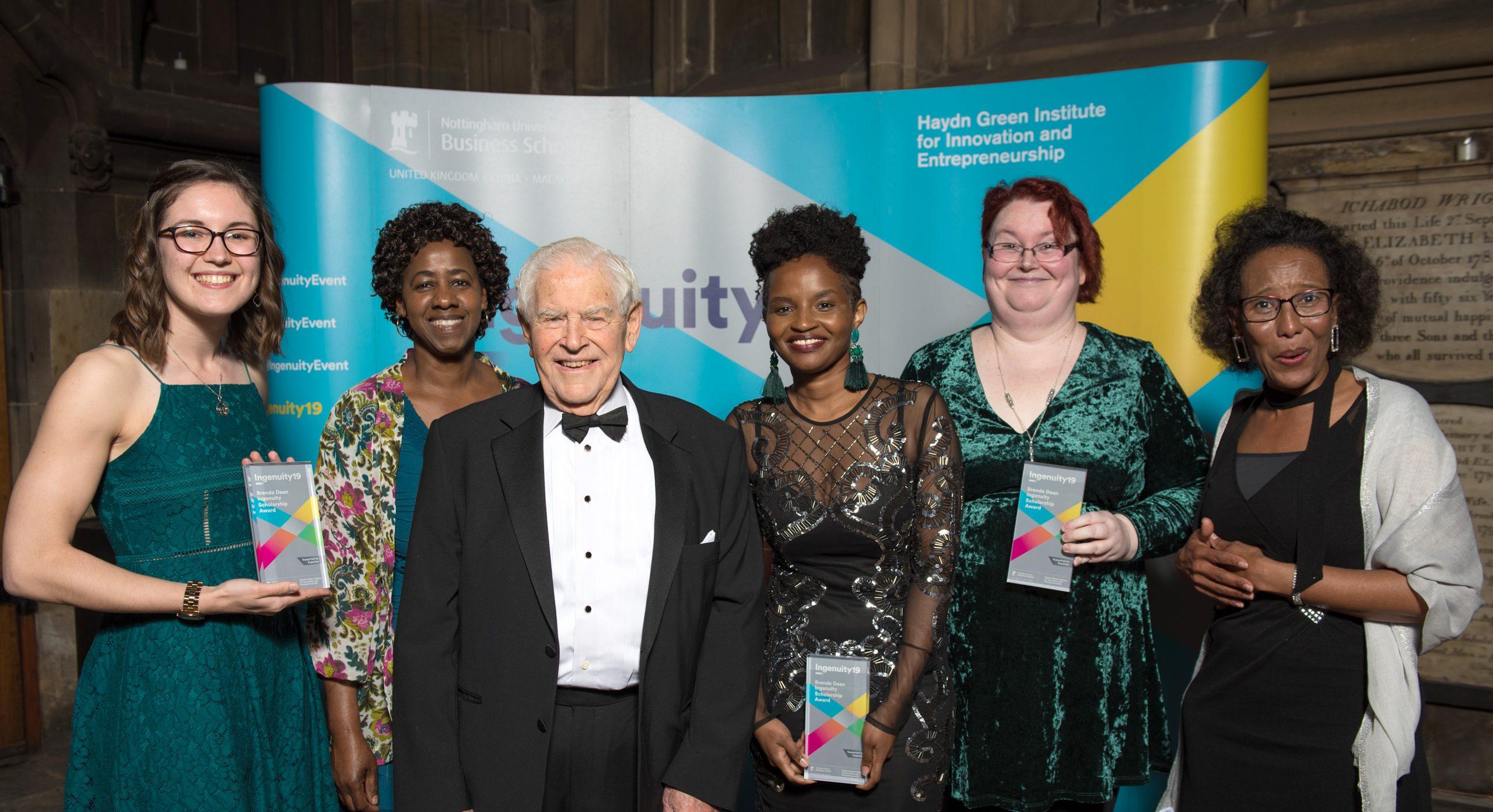 A group of Ingenuity19 winners in evening wear