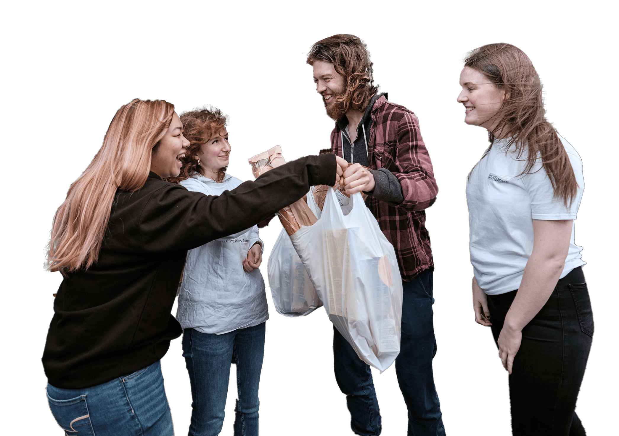 Group of students sharing food shopping bags