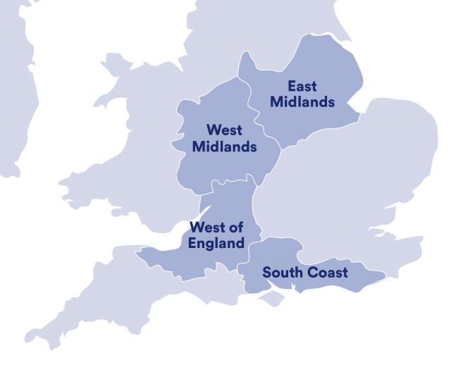 Map of the UK highlighting North West, East Midlands, West Midlands, West of England and South Coast