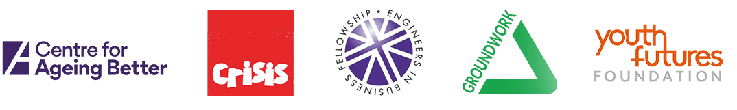 Partner logos – centre for ageing better, crisis, Engineers n business fellowship, groundwork and youth futures foundation
