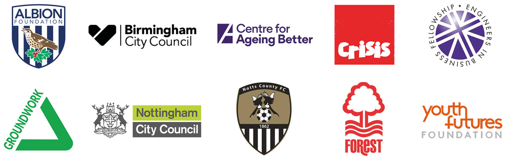 Charity challenge partner logos – albion foundation, birmingham city council, centre for ageing better, crisis, engineers in business fellowship, groundwork,  nottingham city council, notts county foundation, notts forest foundation