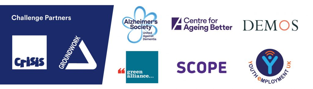 charity partner logos - crisis, groundwork, alzheimers society, centre for ageing better, demos, green alliance, scope, youth employment uk