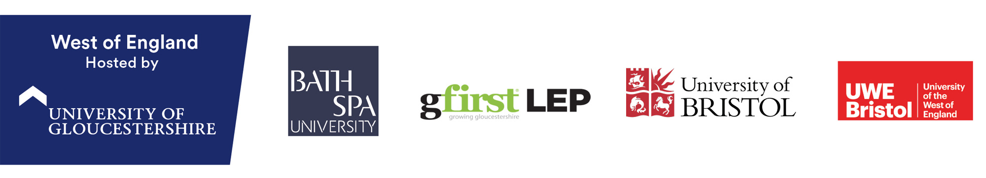 west of england partner logos - bath spa university, G first LEP, university of gloucestershire (host), bristol university and university of the west of england